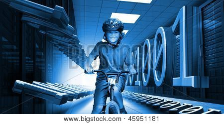Happy child on bike in data center with 3d binary code in blue