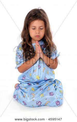 Little Girl At Bedtime Prayer