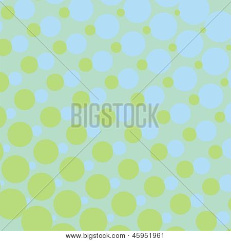 Background with green and blue dots in different sizes from small to big - vector