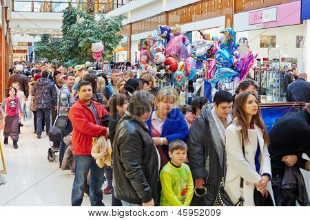 MOSCOW - NOV 4: People with children stand in queue to oceanarium at shopping mall RIO at Dmitrovsky highway, November 4, 2012, Moscow, Russia. This oceanariun first and biggest in Moscow.