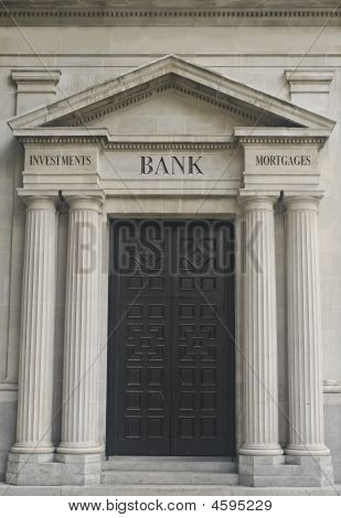 Architectural Detail With Example Of Replaceable Financial Institution Engraved Text