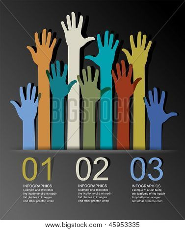 Abstract infographics with numbered elements and  colorful raised hands. This work - eps10 vector file, contain transparent elements