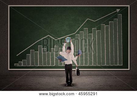 Businessman Multitasking And Profit Bar Chart