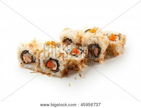 Bonito Maki Sushi - Rolls with Seafood inside. Dried Shaved Bonito outside