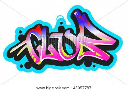 Graffiti vector art urban design element. Club