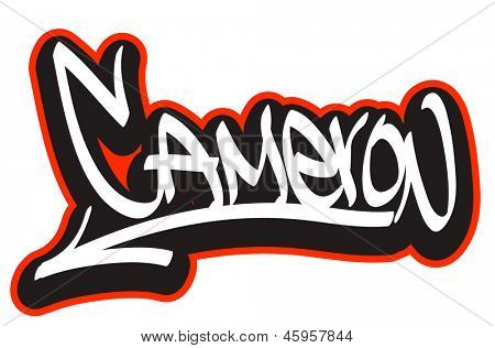 Cameron graffiti font style name. Hip-hop design template for t-shirt, sticker or badge