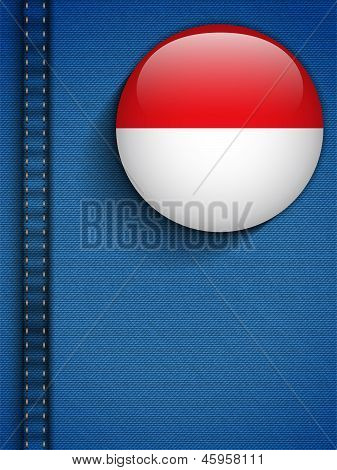 Monaco Flag Button In Jeans Pocket