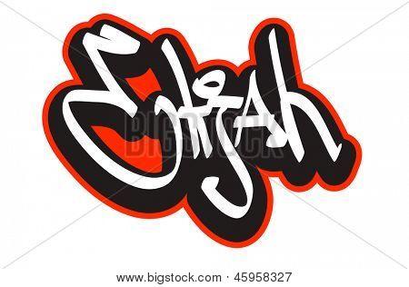 Elijah graffiti font style name. Hip-hop design template for t-shirt, sticker or badge