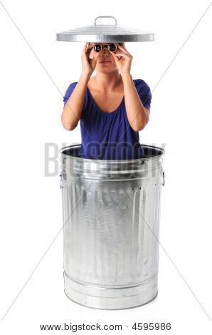 Woman In Trash Can With Binoculars