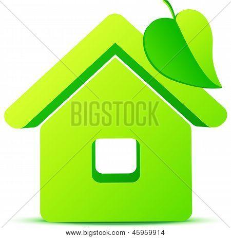 Green eco house 3d vector icon