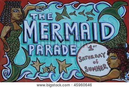 The Mermaid Parade sign at the Coney Island in Brooklyn, NY