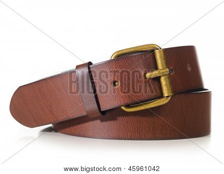 brown leather belt cut out from white background