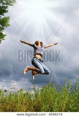 Happy Young Woman Jumps
