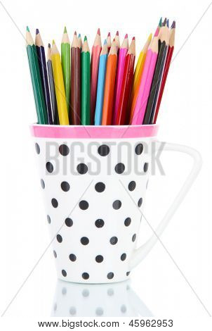 Colorful pencils in cup isolated on white