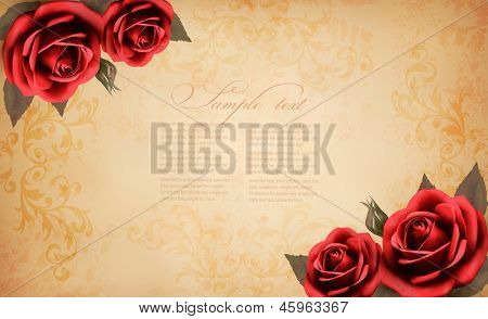 Retro background with beautiful red rose and old paper. Vector illustration.
