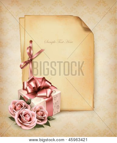Retro holiday background with pink roses and gift box and old paper. Vector illustration.