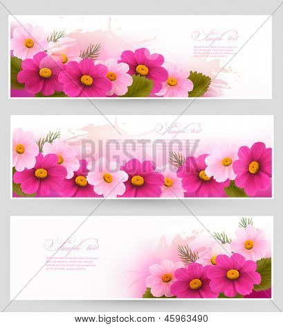 Set of holiday banners with colorful flowers. Vector