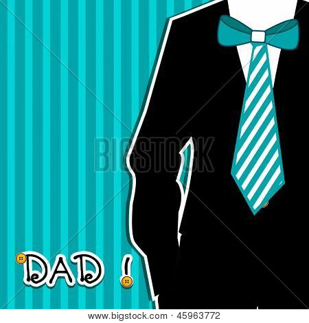 Happy Fathers Day card or background with illustration of a man weraing tie and text Dad.