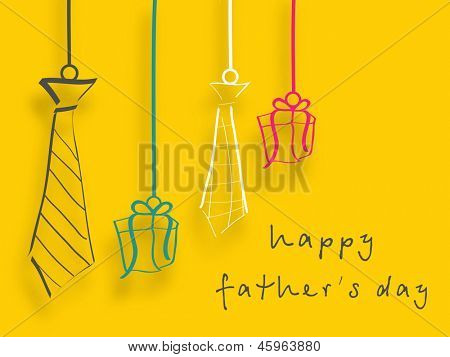 Happy Fathers Day background with handing neckties and gift boxes.