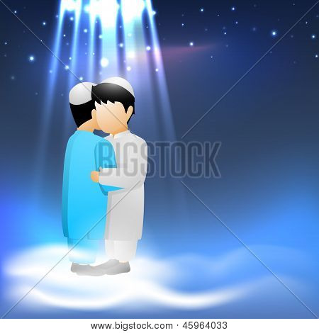Holy festival Eid celebration background with two Muslim boys in traditional clothes hugging  and wishing on shiny blue background.