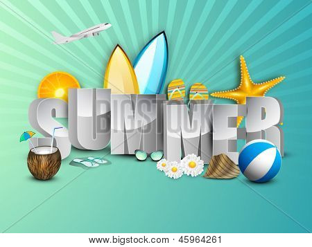 Summer holidays background with sun, flip flops, coconut water and starfish.