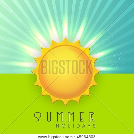 Summer holidays background with shiny sun.