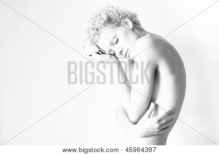 Sensual slim sexy girl - black and white photo (studio)