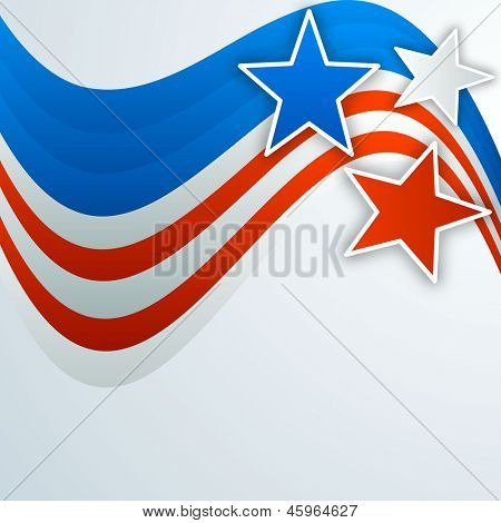 4th of July, American Independence Day background with stars.