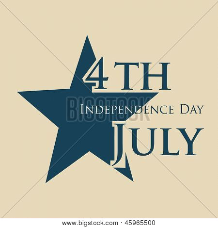 4th of July, American Independence Day with star on brown background.
