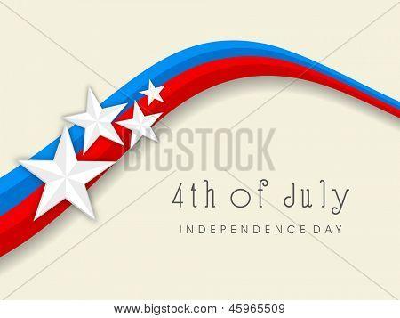 4 de julio, la bandera nacional día de la independencia americana colores fondo onda con estrellas.