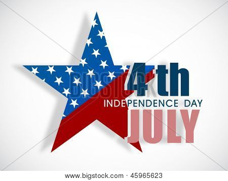 4th of July, American Independence Day concept with star in national flag colors on abstract grey background.