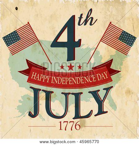 Flyer Vintage, un cartel o fondo para día de la independencia americana con texto 04 de julio de 1776.