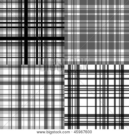 Abstract checkered seamless patterns set in shades of grey, vector