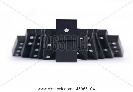 Domino Effect Concept With Leader
