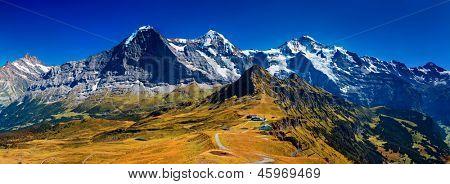 Alps high mountains summer panorama.