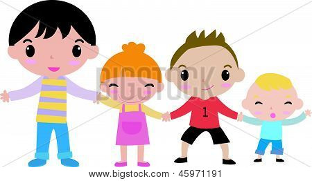 Four cute kids hand in hand