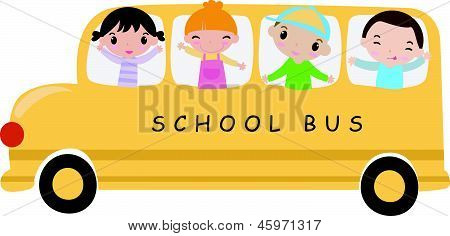 School bus and children -Illustration art