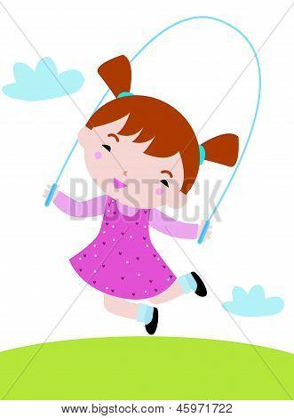 a cute little girl skipping