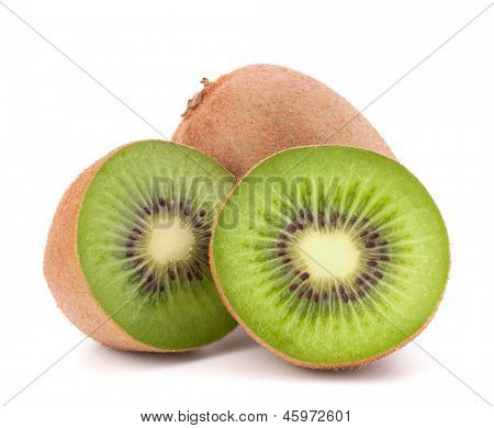 Whole kiwi fruit and his segments isolated on white background cutout