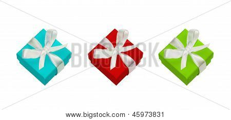 Gift Boxes With White Satin Bow