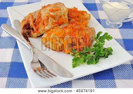 Stuffed Cabbage Stewed In Tomato Gravy With Onions And Carrots