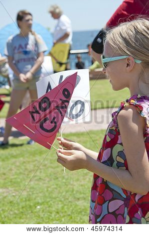 "PENSACOLA, FL - 25 MAY: Protesters in Pensacola, FL gather on May 25, 2013 to support worldwide ""March Against Monsanto"" rallies over GMO (genetically modified) foods and lack of labeling."