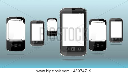 Smart Phones Set On Abstract Blue Background