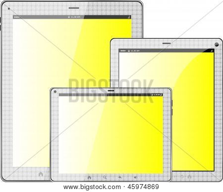 Notebook, Tablet Pc Set Isolated On White Background