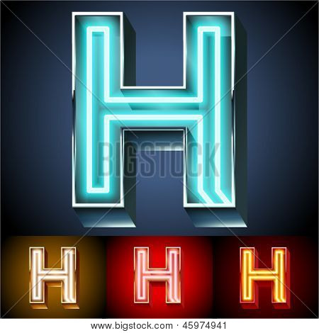 Vector illustration of realistic neon tube alphabet for light board. Gold and Silver and Red options. Letter H