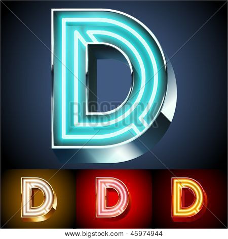 Vector illustration of realistic neon tube alphabet for light board. Gold and Silver and Red options. Letter D