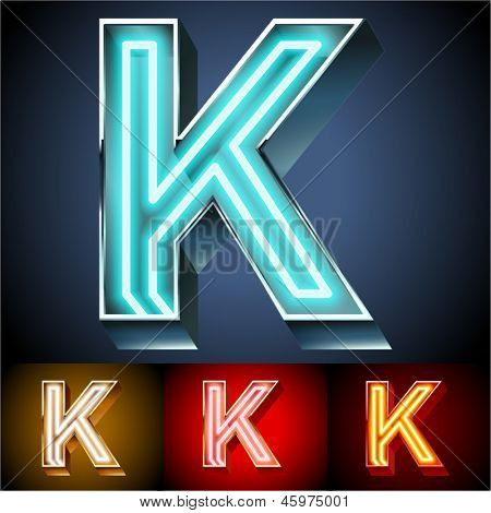 Vector illustration of realistic neon tube alphabet for light board. Gold and Silver and Red options. Letter K