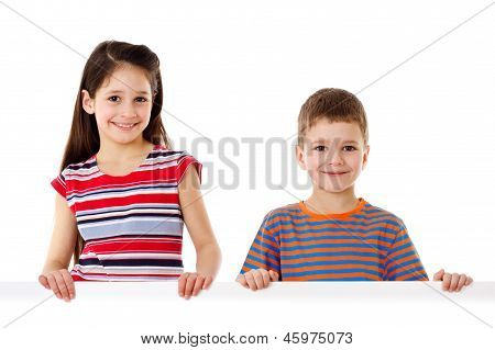 Two kids with empty blank
