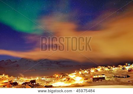 Tasiilaq In Mist And Northern Lights