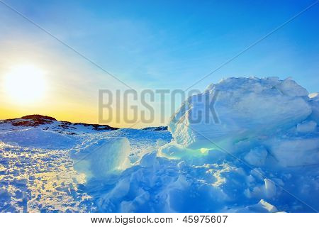 Ice In Greenland In Spring Time